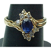 Estate 14K Yellow Gold Sapphire & Diamond Ring