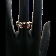 Vintage 14K Yellow Gold 1.00 Carat Round Garnet & .32 Carat Diamond Ring