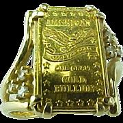 Vintage Gold Bar 1 gram .999 Fine Gold & Diamond Ring