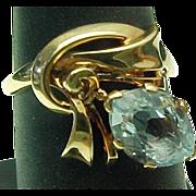 Retro 14K Gold 1.00 Aqua Marine Marquis Ring