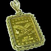 Vintage Gold Bar American .999 Fine 1/10 oz Pendant