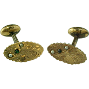 Victorian Gold Filled, Emerald, Seed Pearl Cuff Links