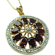Gold Vermeil Over Sterling Silver 6 CTW Pyrope Garnet Heart Necklace