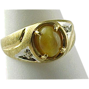 """Vintage Mens 14K Yellow Gold Tigers Eye & Diamond Ring """"CLEARANCE SALE"""""""