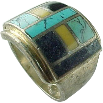 Vintage Sterling Silver Unisex Inlaid Multi Color Stone Ring
