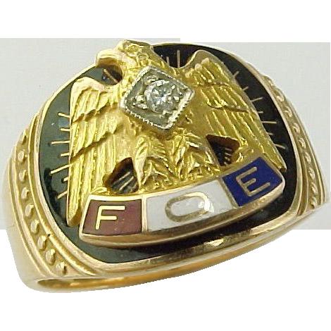 Fraternal Order of Eagles 10 K Gold Diamond Ring