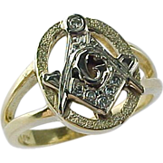 Vintage Two Tone 14 K Gold & Diamond Masonic Ring