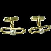 Vintage 14 Karat Mikimoto Pearl Golf Club Cufflinks, SOLID 14K YELLOW GOLD