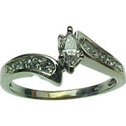 Vintage 14K White Gold Marquise & Round Diamond Ring .25 Carat