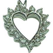 14K White Gold .35 Carat Diamond Open Heart Pendant
