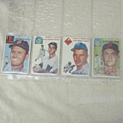 Vintage 1954 Topps Baseball Cards Set of 4