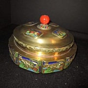 Round Lidded Chinese Brass and Enamel Box