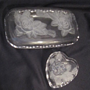 Vintage Two Clear Glass Boxes Decorated with Raised Roses