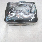 Japanese Slip Dragon Hand Painted Cigarette Box