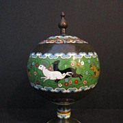 Antique Japanese Cloisonne Tea/Spice  Caddy
