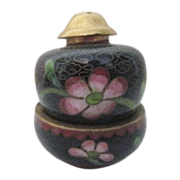 Cloisonne Stacking Salt & Pepper Oriental with Flowers