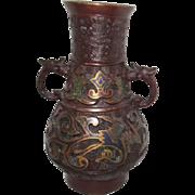 Antique Double Handled Bronze Metal Champleve Vase