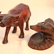 Vintage Hand Carved Water Buffalo 2 pieces