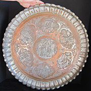 Antique Round Persian Pictorial Tray