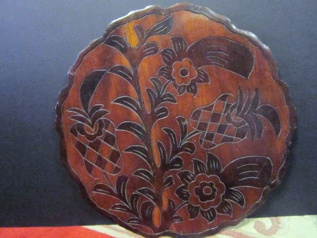 Vintage Hawaiian Carved  Wood Double Sided Tray-19""
