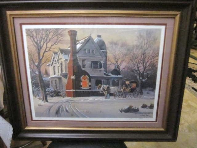 Vintage Print of a Winter Scene by James Baren 330/750 Plate and Hand Signed