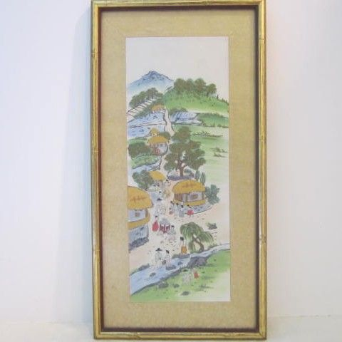Vintage Hand Embroidered Oriental Country Scene
