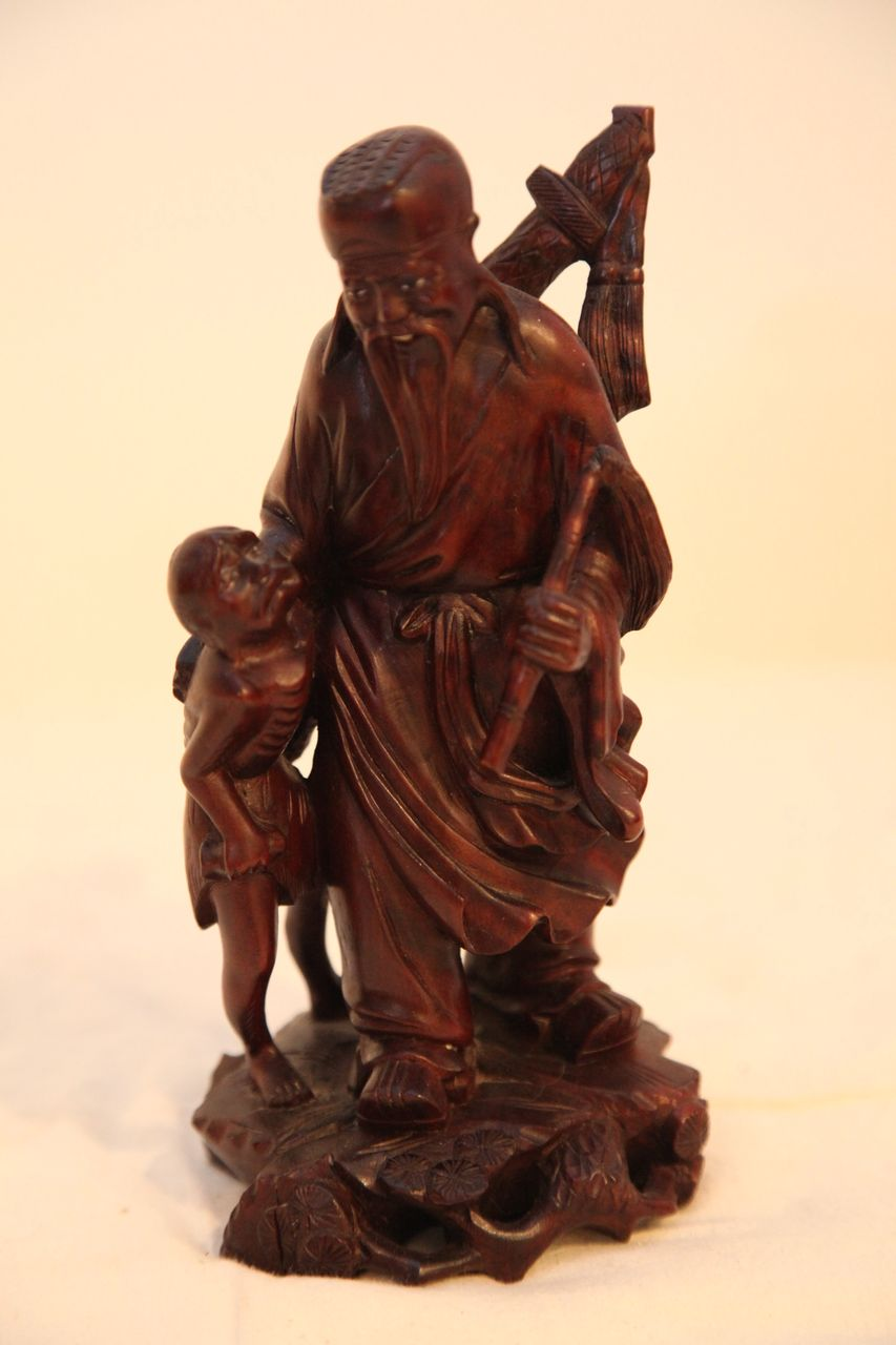 Vintage Oriental Wood Carving of Man With Child