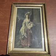 Framed Colored Print of a Lady Posed for Portrait