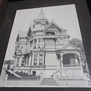 Framed Ink Drawing of Franklin Street Victorian House San Francisco