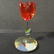 "Swarovski Miniature ""Kim"" Item # 1016548 (single stem red flower)"