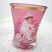 Victorian Mary Gregory Glass Cranberry Colored Tumbler