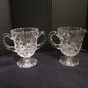 Vintage Crystal Footed Cream & Sugar with Rose Pattern