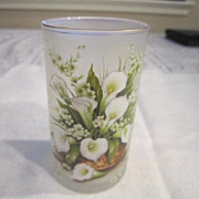 Vintage Set of 6 Calla Lily Bouquet Decorated Juice Glasses