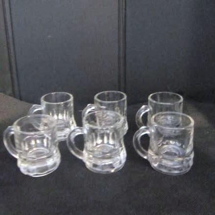 Set of 6 Federal Glass Miniature Shot Glass Mugs