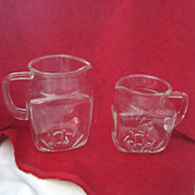 Vintage Set of 2 Federal Glass Star Pattern Pitchers