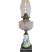 Antique Oil Lamp Hand Painted Apple Blossoms Iron Base