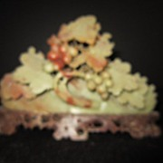 Vintage Hand Carved Soap Stone Grapes and Leaves
