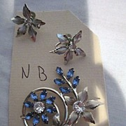Vintage Flower design screw on earrings and pin on broach by NB