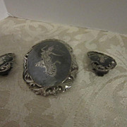 Vintage Siam Clip on Earrings and Pin/Broach