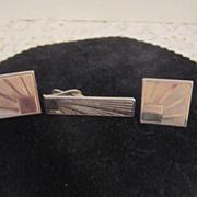 Vintage 3 Piece Cufflink and Tie Bar Set