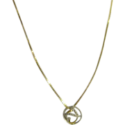 """Danecraft 28"""" Chain Necklace Sterling Vermeil Italy 920 with Pendant"""