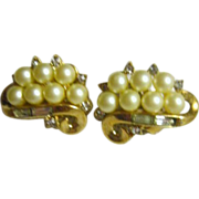 Trifari Faux Pearls and Goldtone Clip Earrings
