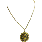 """23"""" Chain with Goldtone & Black Oriental Pendant with Filigree Edging"""