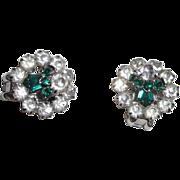 Green and Clear Rhinestone Clip Earrings