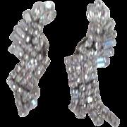 """Pair of 2 1/2"""" Weiss Rhinestone Clip-on Earrings"""