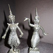 Antique Bronze Pair of Siam Dancers