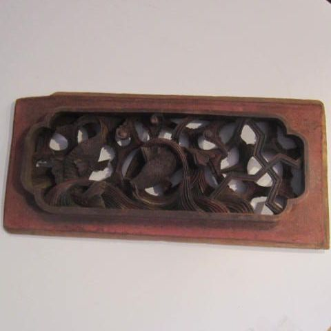 Antique Architectural Chinese Wood Carving of 2 Fish