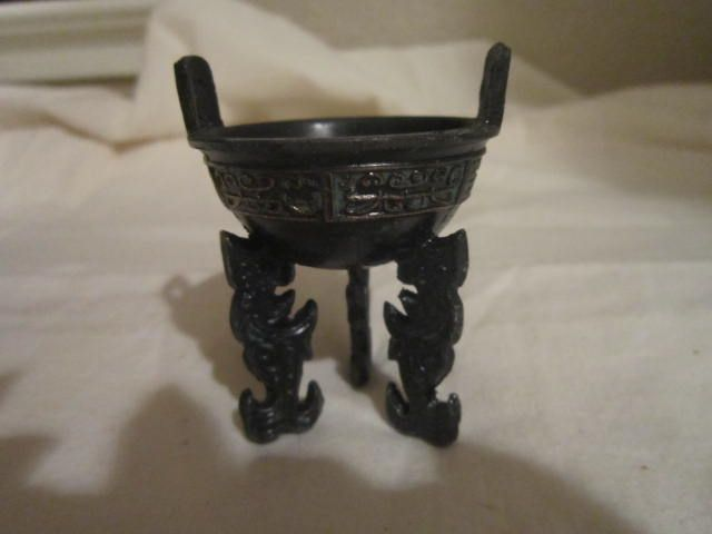 Vintage Chinese Miniature Footed Metal Bowl with Ancient Designs