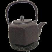 Antique Oriental Metal Tea Pot with Decorated Trivet