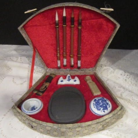 Vintage Chinese Calligraphy Set in Box